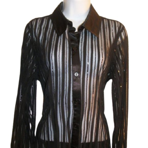 Lana Lee Black Sequined Blouse Medium